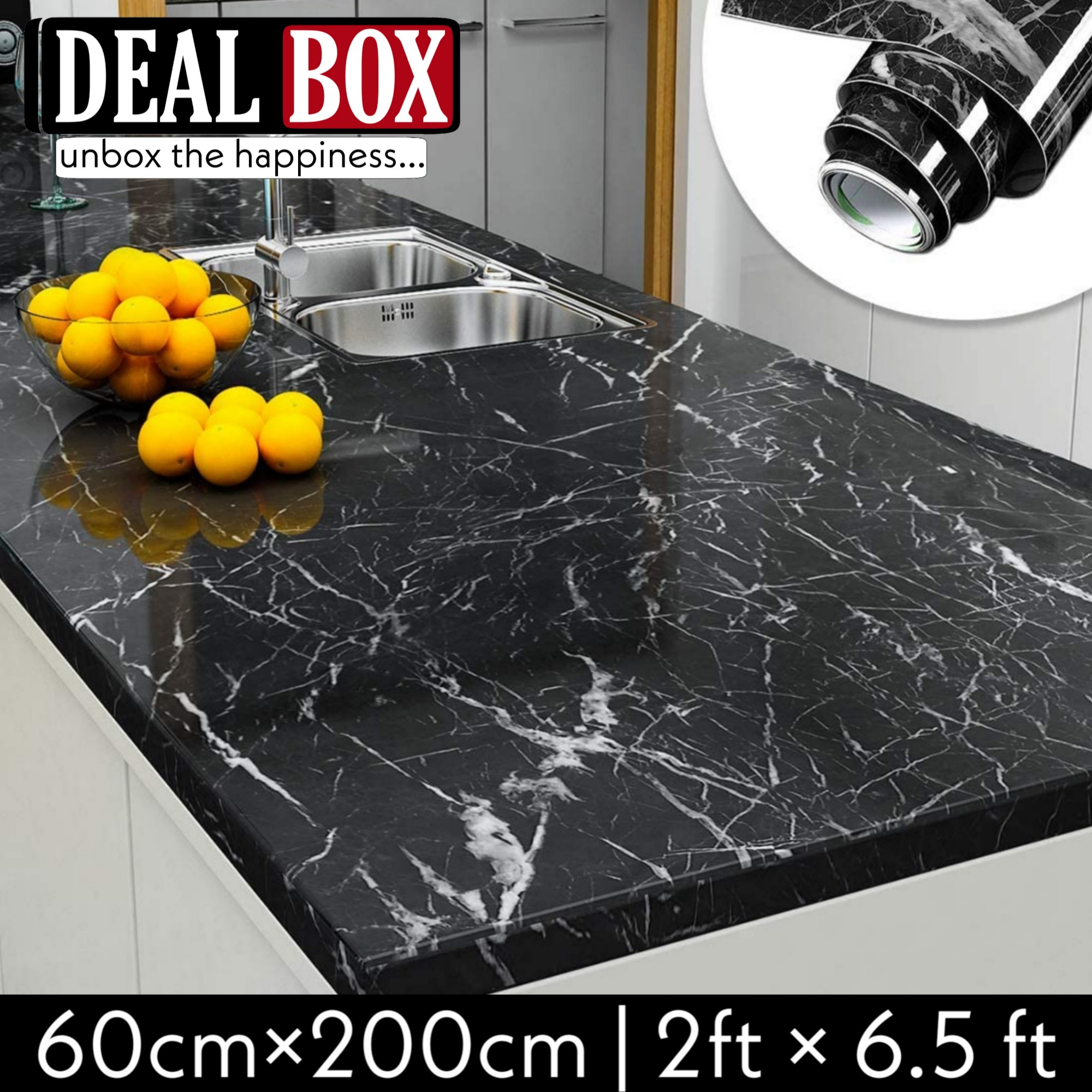 Self Adhesive Black Marble Sheet for Kitchen - Anti Oil and Heat Resistant Wallpaper