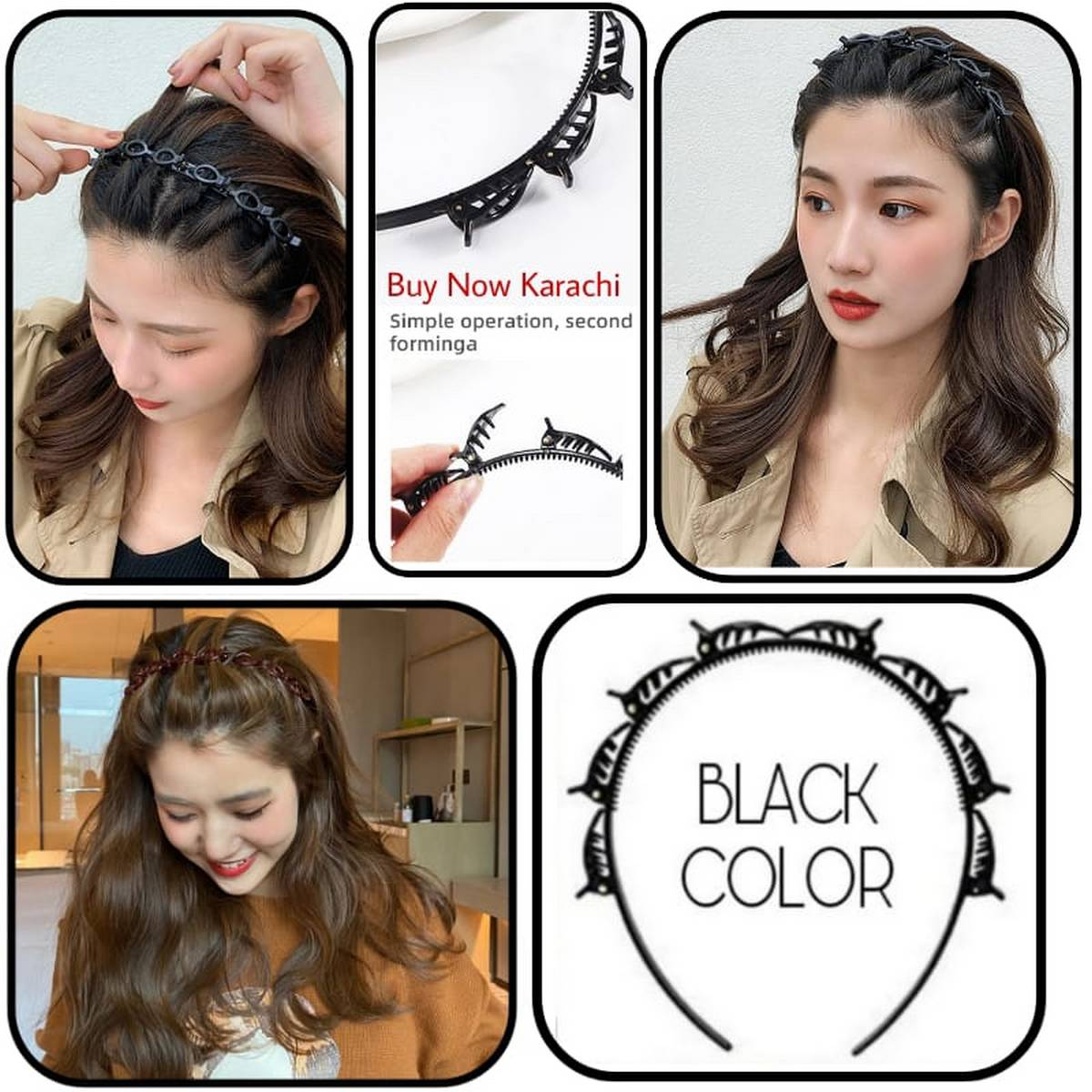 Black Braider Hair Style twister hair band headband Double Bangs Hairstyle Hairpin with clip hair styling new fashion Hairband Women girls