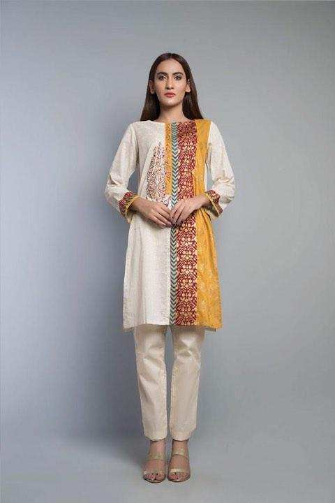 Meerbound New Summer Collection 2019 Skin Cotton Embroidered Kurti For Women