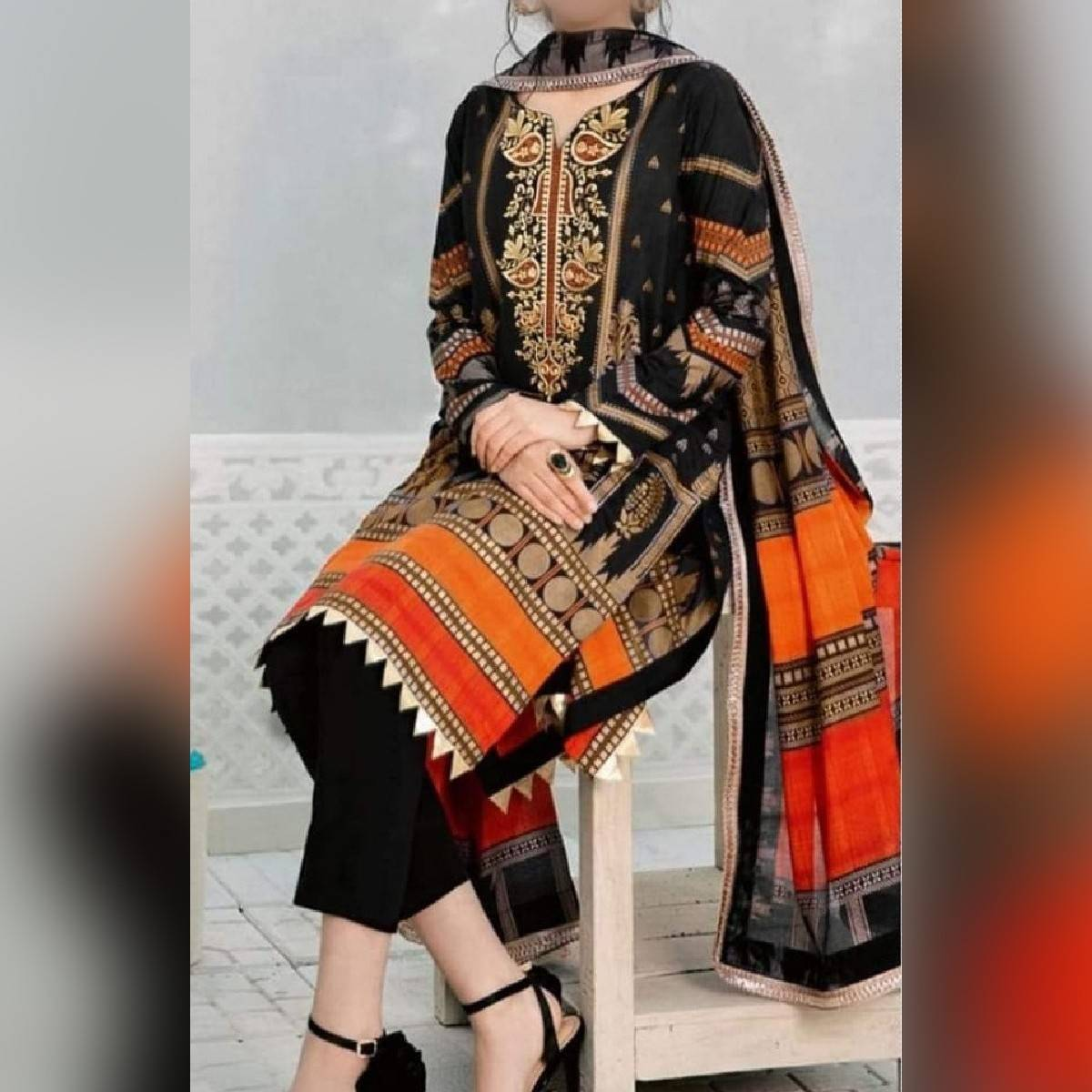 LAWN EMBROIDERED THREE PIECE SUIT with CHIFFON DUPATTA SUMMER COLLECTION 2021