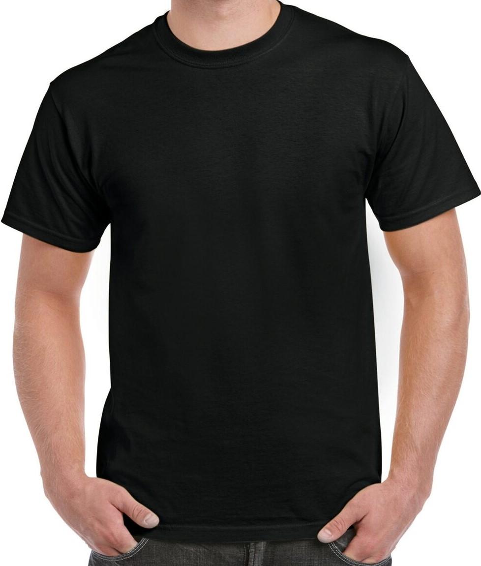 Black Polycotton Half Sleeve Tshirt For Men