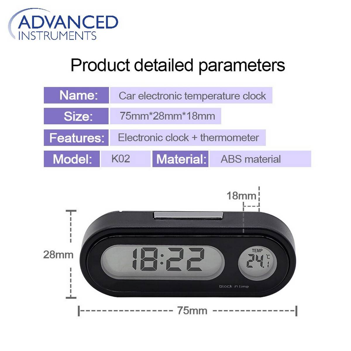 Mini Electronic Clock Time Watch Auto Dashboard Clocks Luminous Thermometer Black Digital Display Car Accessories