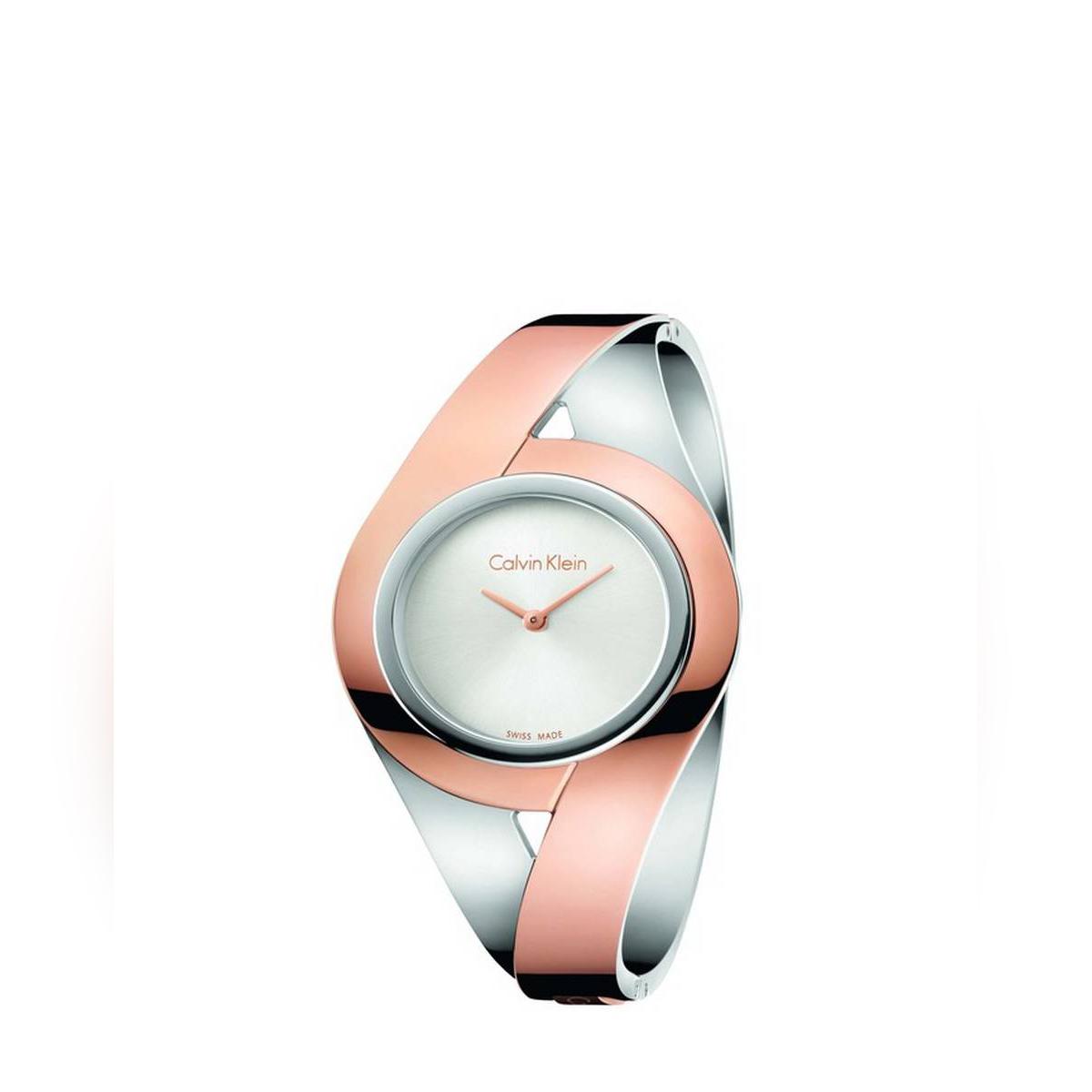 Calvin Klein Sensual Silver Dial Ladies Two Tone Medium Bracelet Watch - K8E2M1Z6