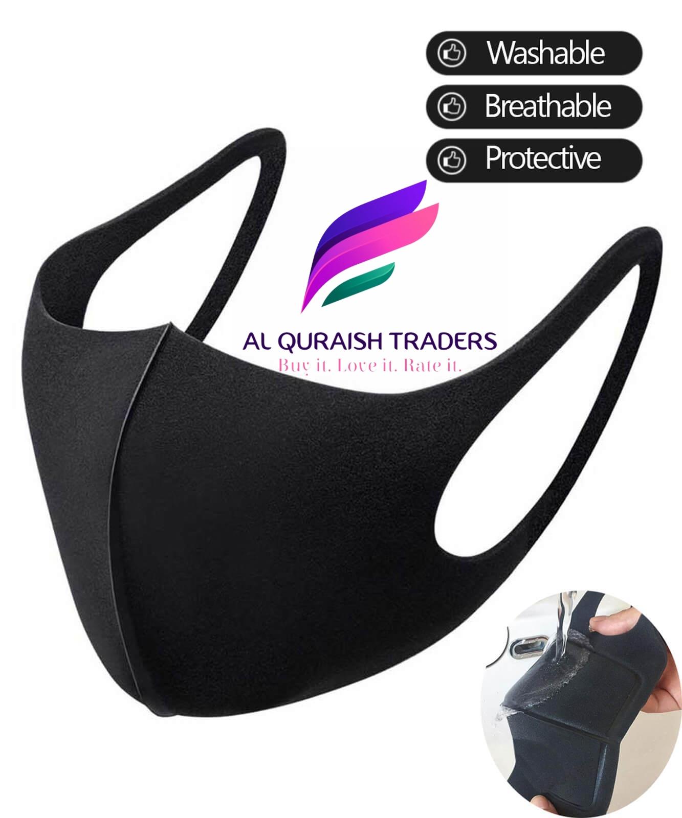Unisex Reusable, Breathable Washable Organic Sponge Face Mask_ 3D Fashion Cotton Spandex Plain Double Ply Ninja Mask_ Washable Anti Dust Fashion Black Mask_