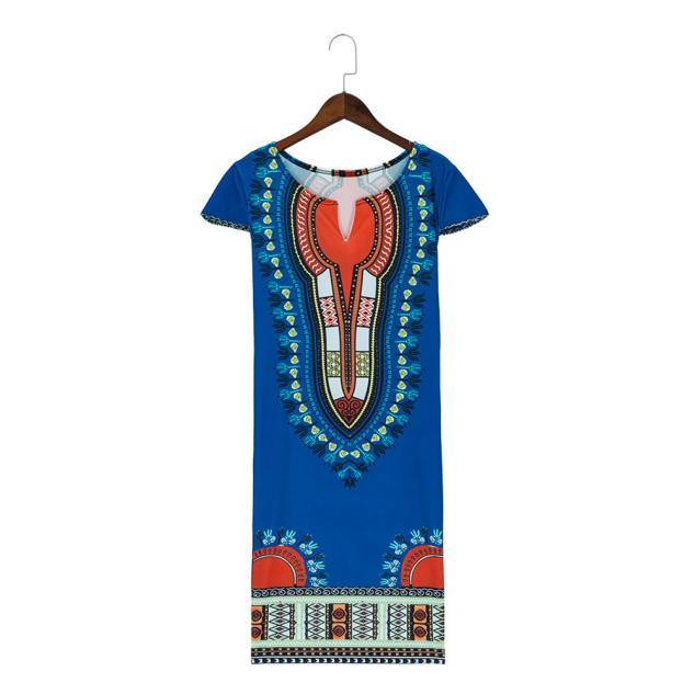 8c789bbcd48 New Women Summer Casual Deep V-Neck Traditional African Print Party Dresses