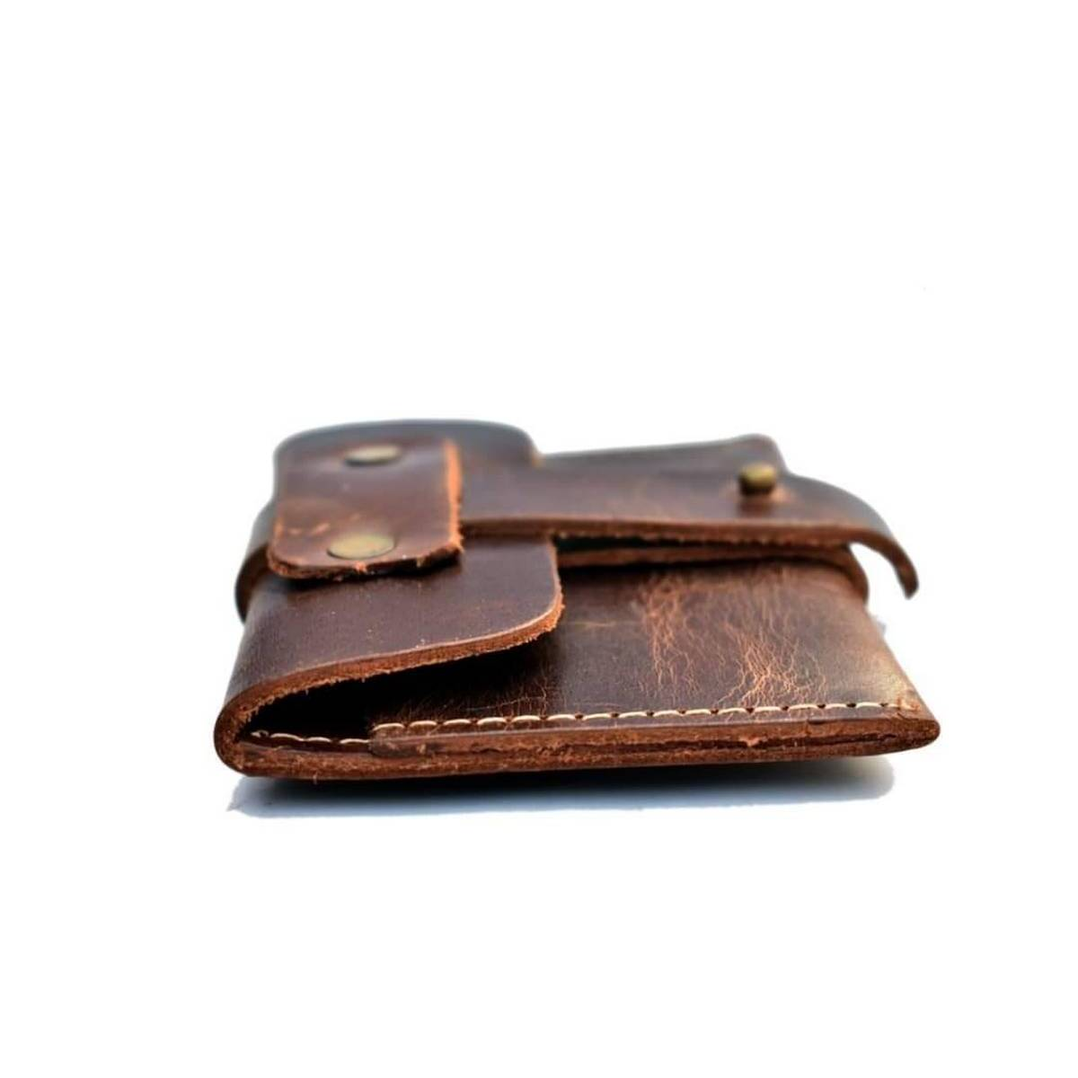 Card holder in leather double tune shade wallet