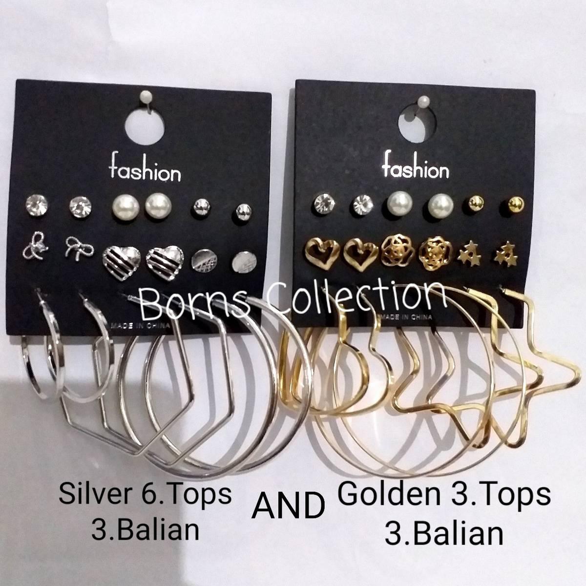 Amazing Big 6 Pairs/Sets Hoop Earring Stud Earring Fashion For Women Girl Jewellery Earring(3 Bali And 6 Tops)