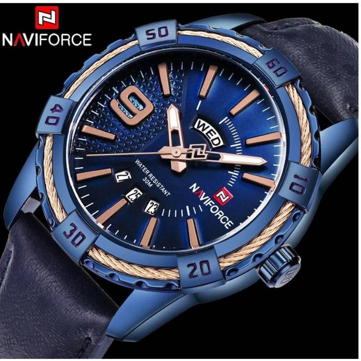 Naviforce Genuine Leather Day & Date Analog Quartz Wristwatch Waterproof With Brand Box - NF9117