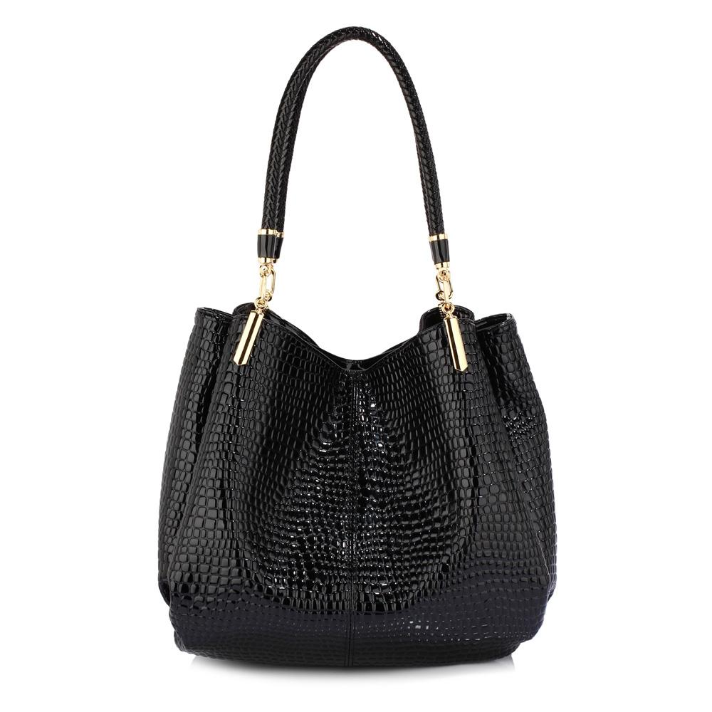 6854a3e661f8 Silk Avenue - Black PU Faux Leather Croc Textured Shoulder Bag For Women -  LS00243A Black 11