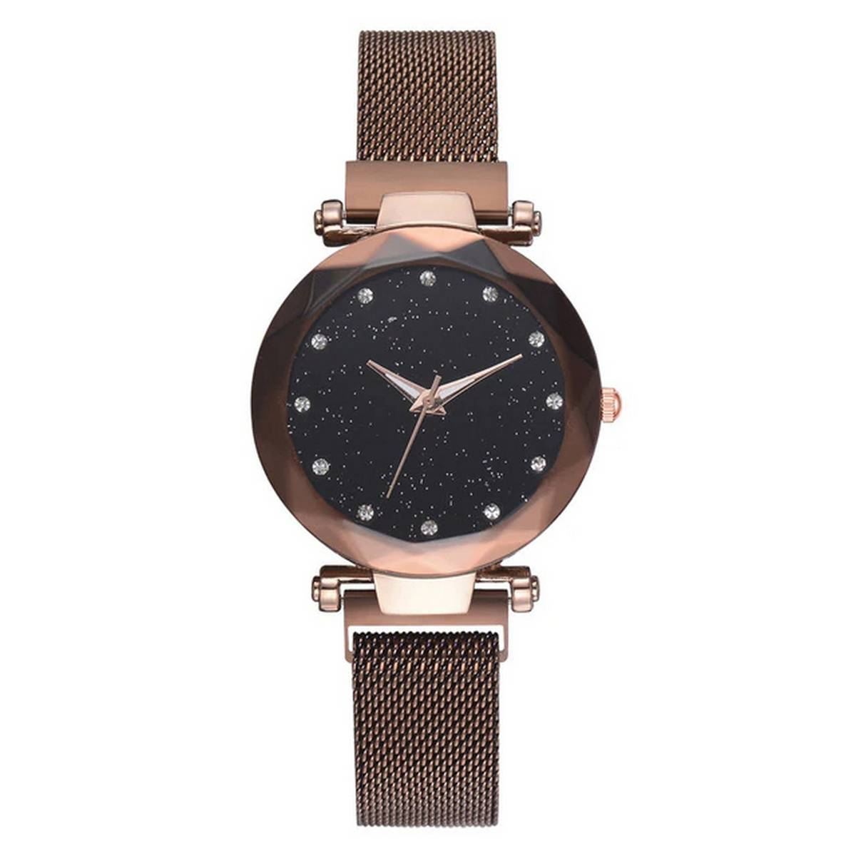Magnet Analogue Women Watches Fashion Starry Sky Waterproof Wrist Quartz Watch Stainless Steel Band Strap Bracelet Diamond - Magnetic Strap Casual Wristwatch For Ladies and Girls - Model 2021