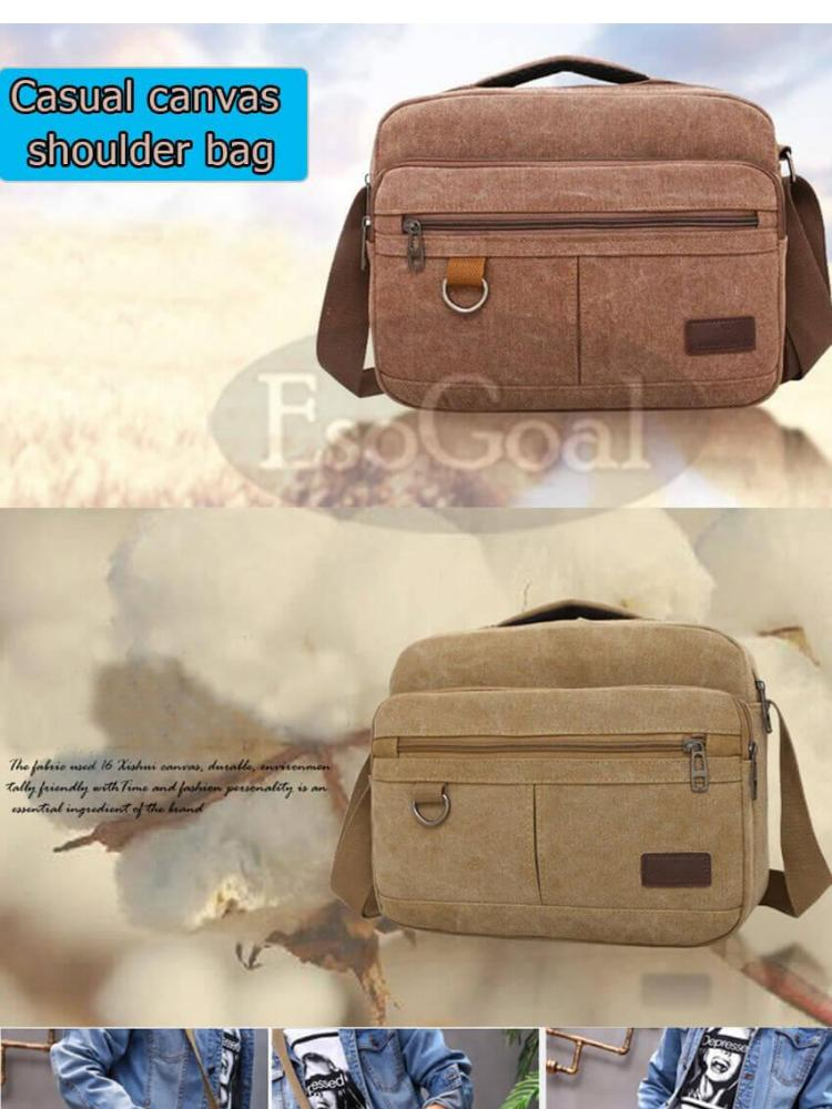ba54b18cd9199 Product details of Men Messenger Bag Vintage Retro Canvas Shoulder Bag  Messenger Handbags Cross Body Multi Zipper Pockets Bag