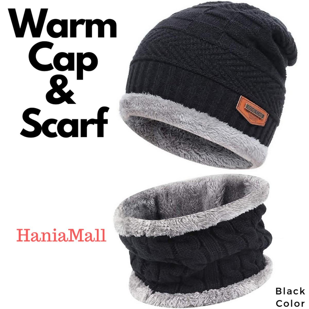 2 Piece Winter Elastic Knitting Thick Fleece Warm Woolen Beanie Cap Sport Hat & Neck Scarf Set for Unisex Men Women Multicolor Snow Proof