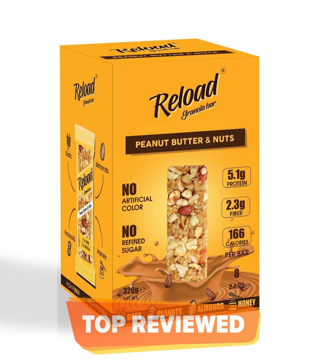 Reload Granola Bar - Protein Bar - Peanut Butter & Nuts - Box (8 Bars)