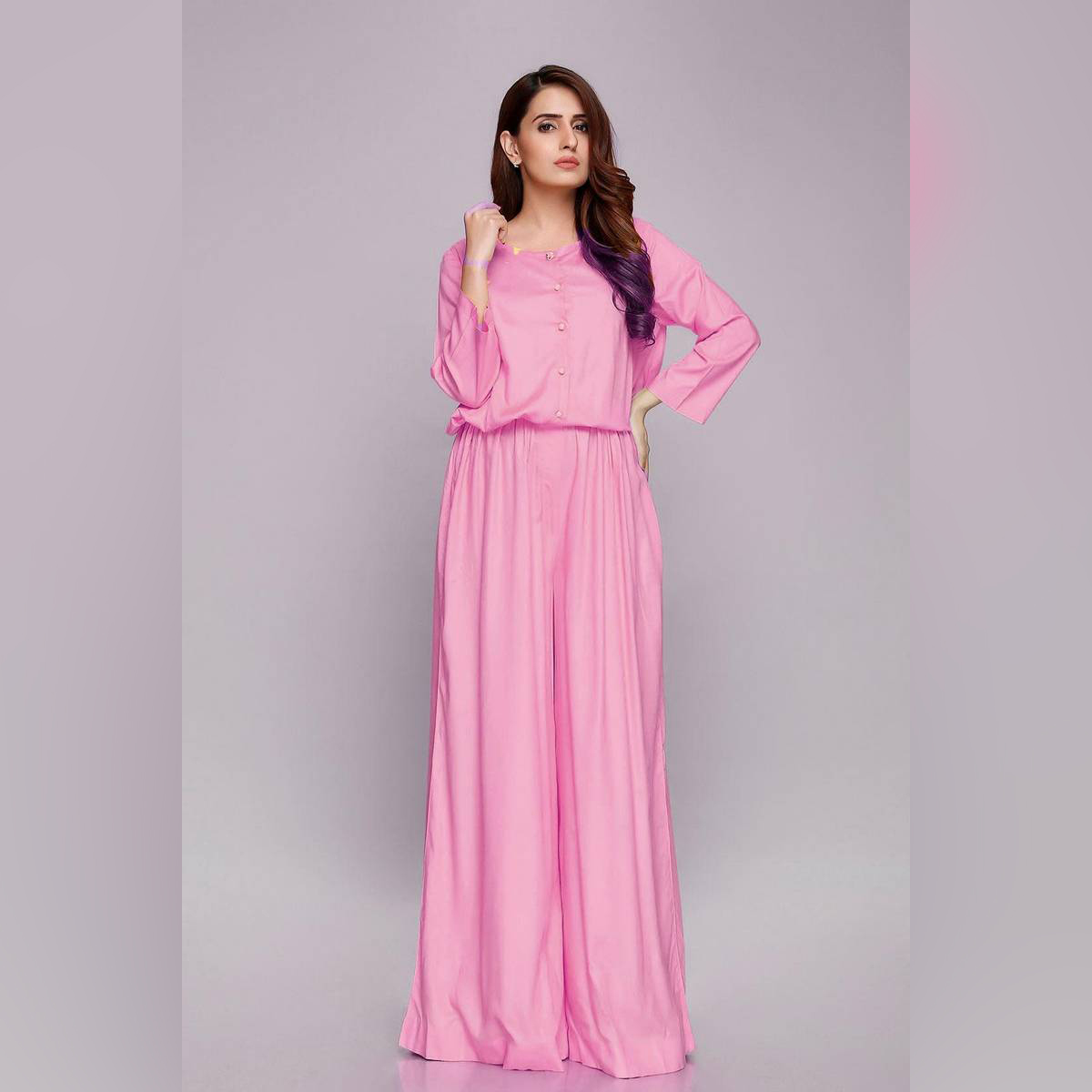 Flared Pink Jumpsuit