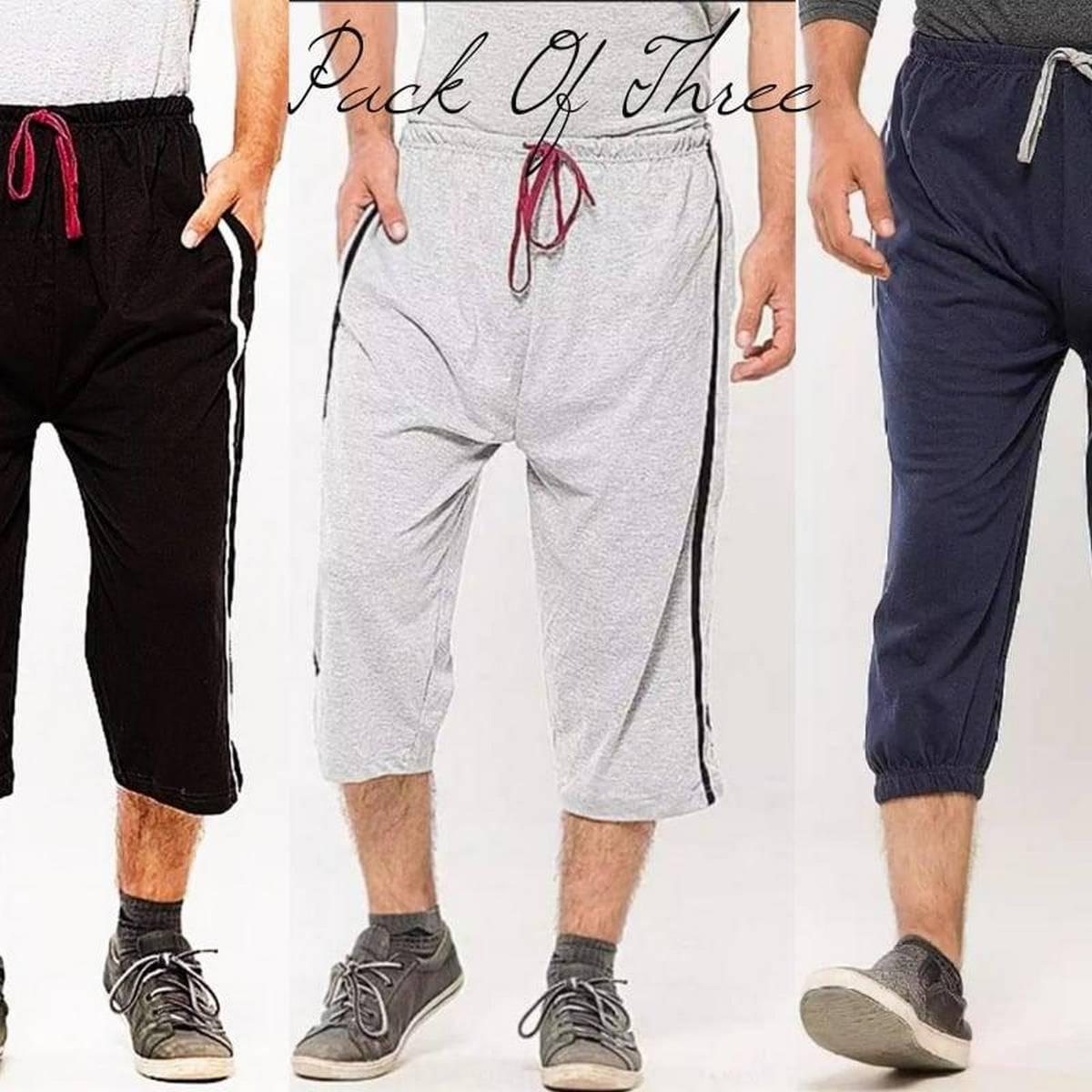 Pack of 3 - Three Quarter Jersey Shorts For Men - Blue, Black, Grey