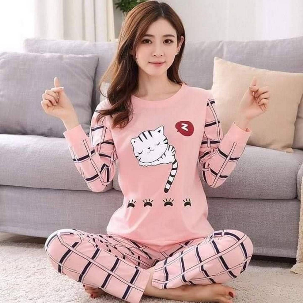 Sleeping Cat Printed Cotton Jersey Ladies Sleep Dress Night Wear with Shirt and Trouser (Complete Sleeping Suit) For Women and Girls