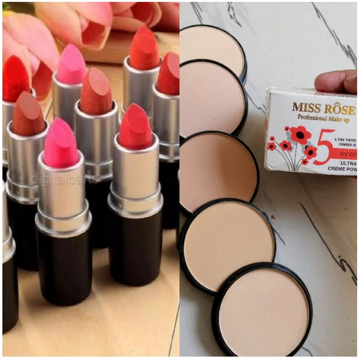 Pack of 6 matte lipstick and miss rose 5 in 1 Facepowder
