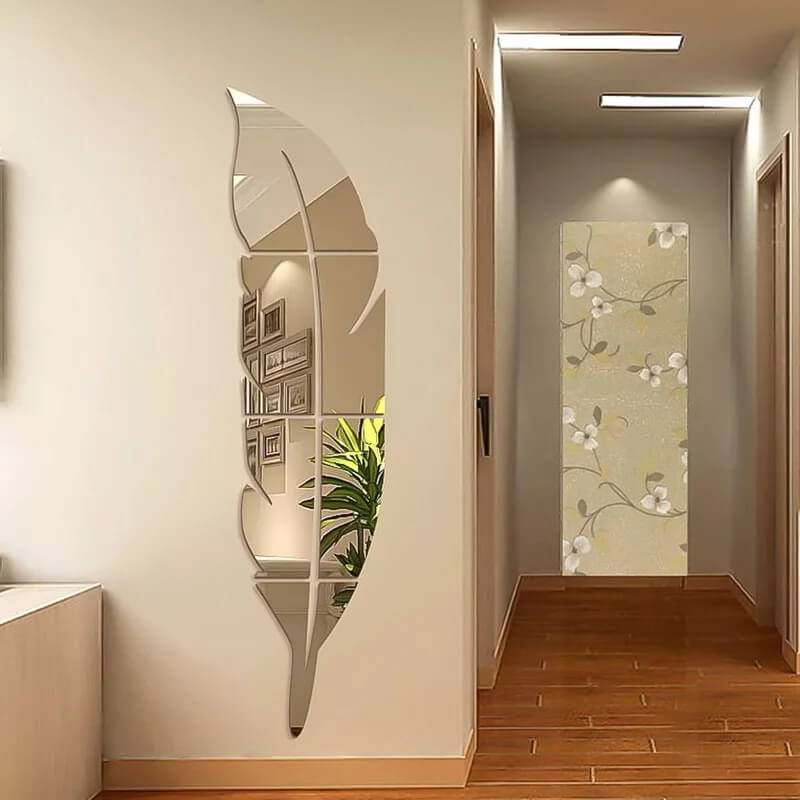 3D Silver Acrylic Leaf Mirror, Feather Shaped Wall Décor, Wall Mirror 12*49 inches