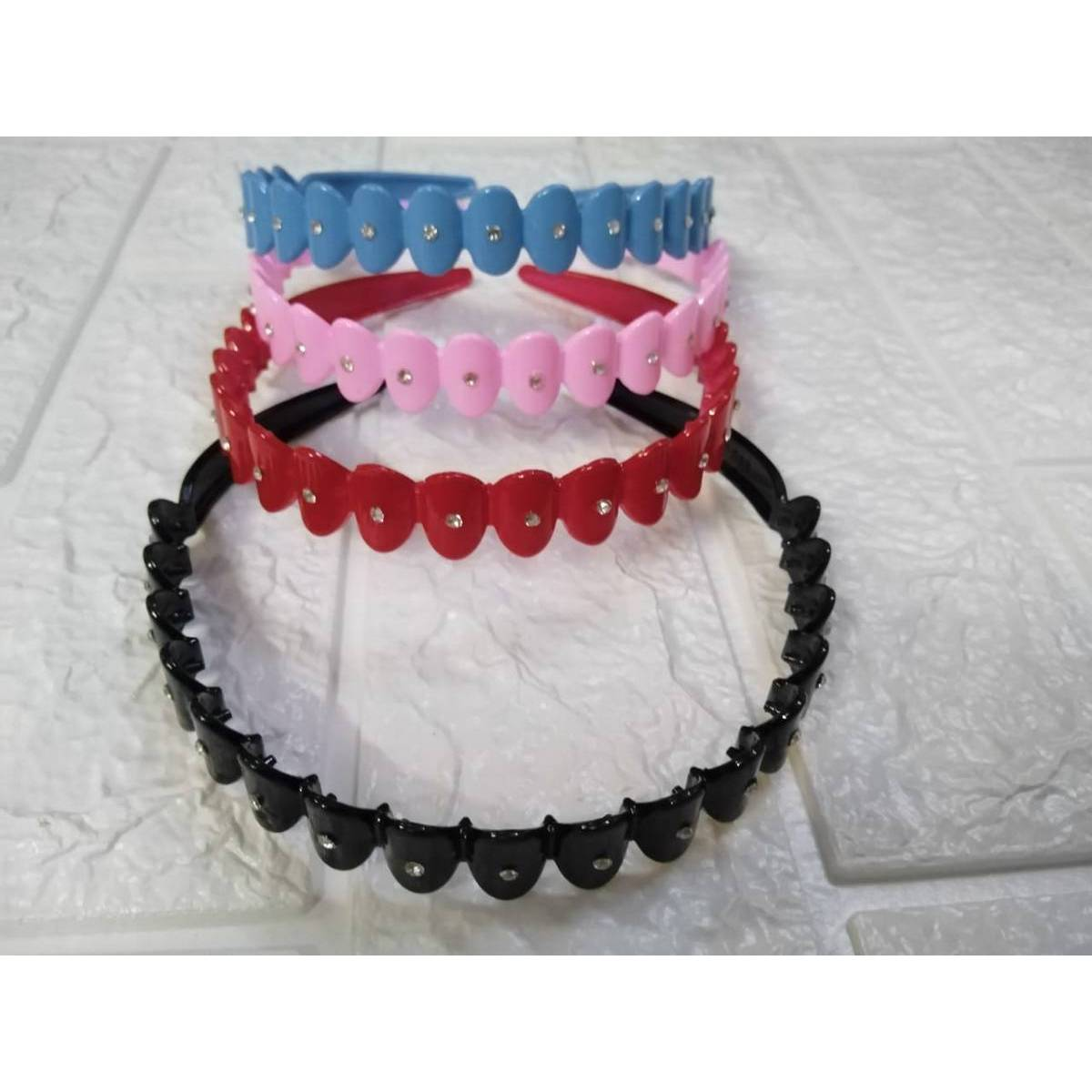 4pc Hair Band Plastic Teeth Head Bands Lined Glitter Hairbands For kids Hard Bow Headband For Girls Hair Accessories 4 Different  colors
