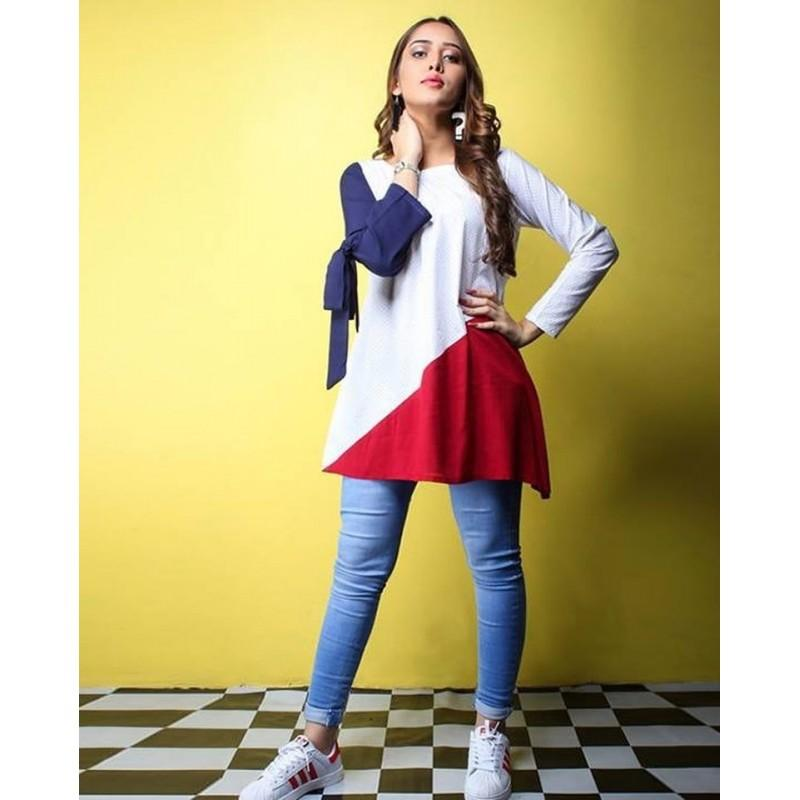 01a2da02ccbc T Shirts & Tops New Summer Collection 2019 Blue and White Embroidered Kurti  For Women