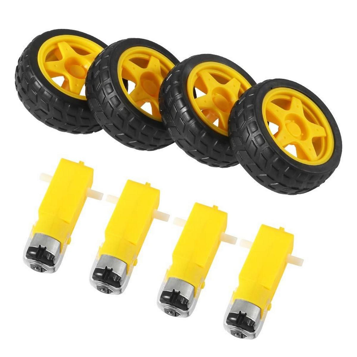 Pack of 4 DC 3-6V Smart Robot Car Tyre Wheel Gear Motor Set