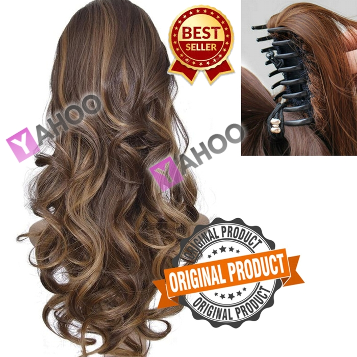Clip in/on Ponytail Synthetic Hair Extension Kashee - Brown With Golden highlights