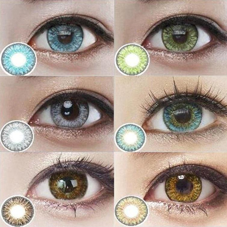 GRAY Event 3 Tone Pair of Contact Lens Multi Color Eye Lens Soft Eye Lenses With Solutions High Quality With Free Kit