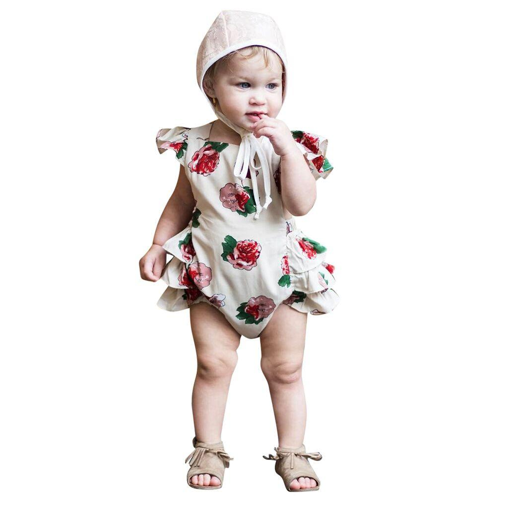 14fa6068686d Rainbowroom 2019 Newborn Infant Baby Girls Floral Flower Print Princess Romper  Bodysuits