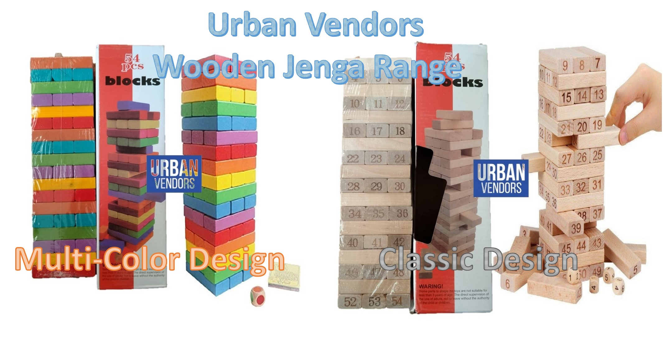 Jenga Wooden Kids Game Large Size 54 Blocks with 2 Dice Stacking Tumbling Tower Multicolor
