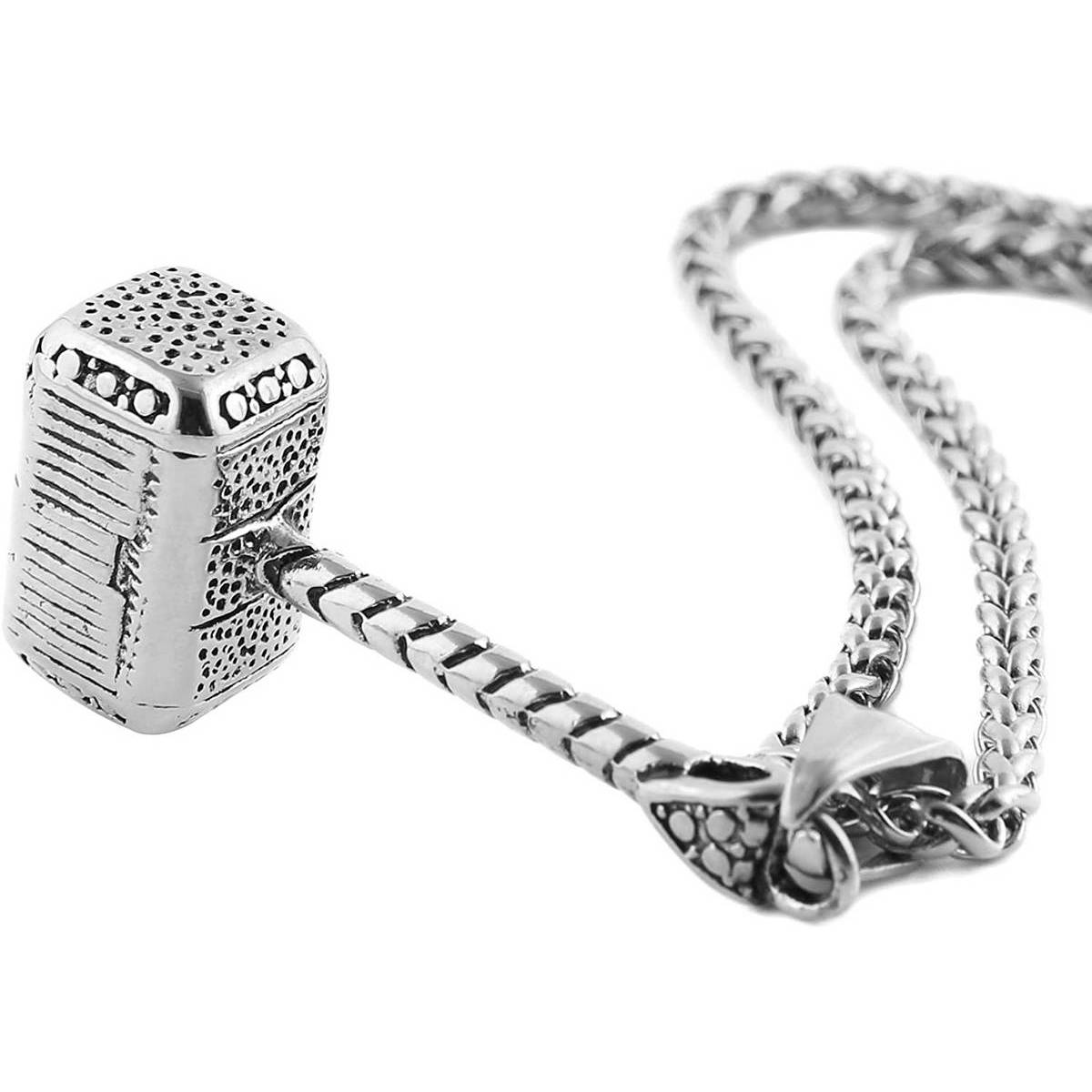 Neck Chain Fashion Neck Wear for Boys and Girls Rough and Casual Style  Fashion Jewellery For Girls and Boys | Thor's Hammer Style Fashion Pendant and Necklace | Fashion Jewelry Stick Hollow Girl Long Link Chain Neckless for Girls and Women & Boys and Men
