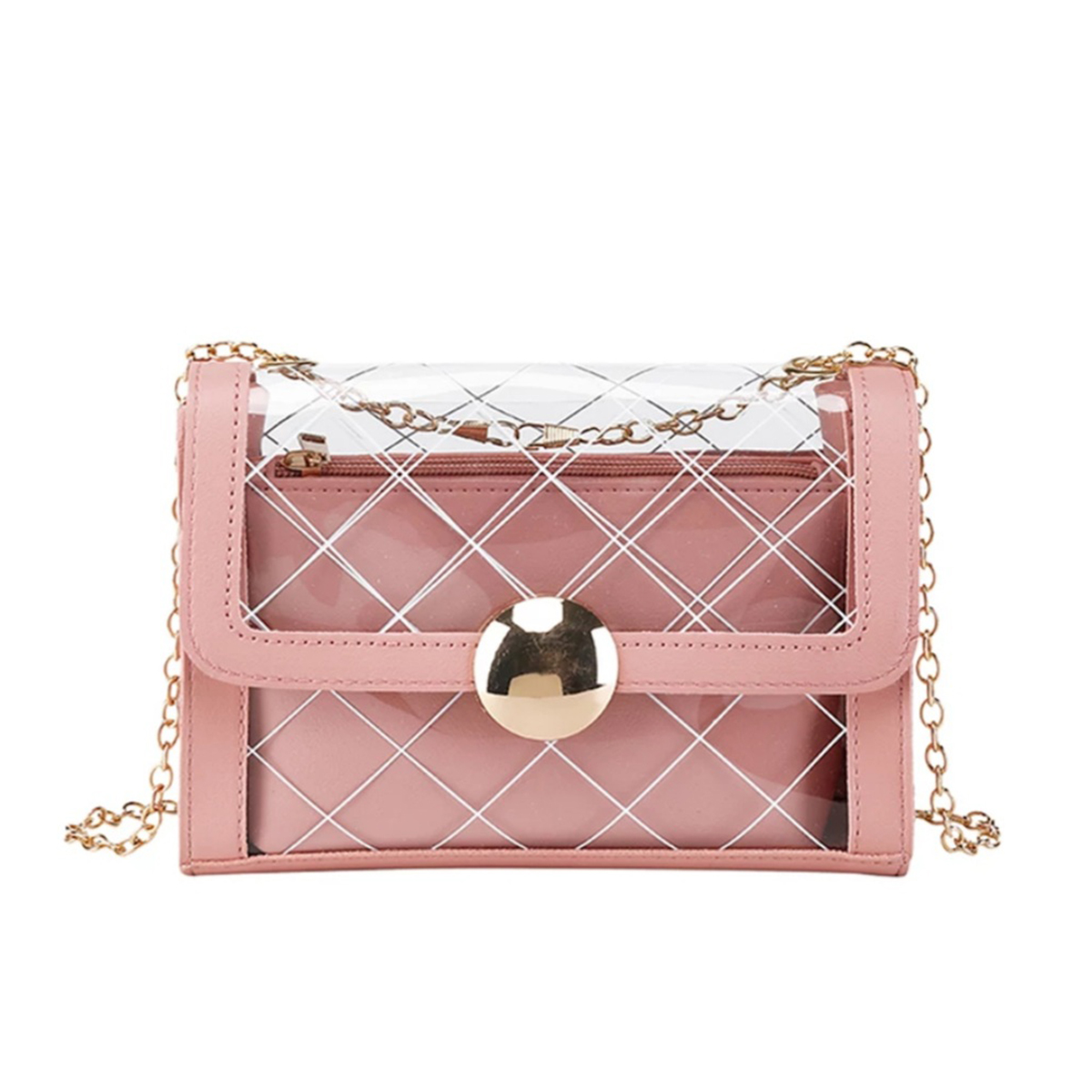 Handbag For Girls and women 2 in 1 Transparent Printed Crossbody Bag + Leather Purse Set for Women