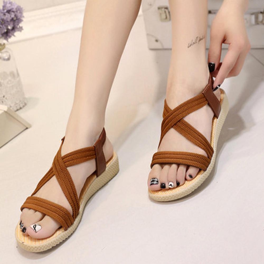 be70c46df94df Women Flat Shoes Bandage Bohemia Leisure Lady Sandals Peep-Toe Outdoor Shoes