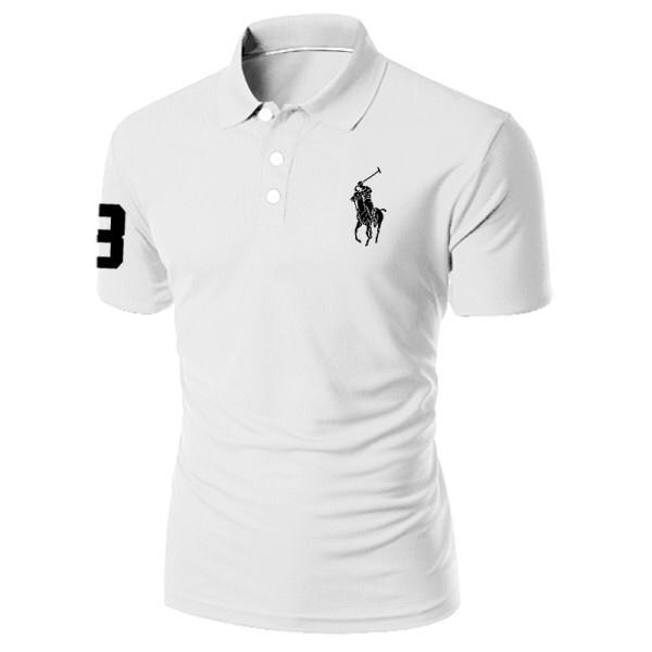 White POLO Embroidered T-shirt For  Men