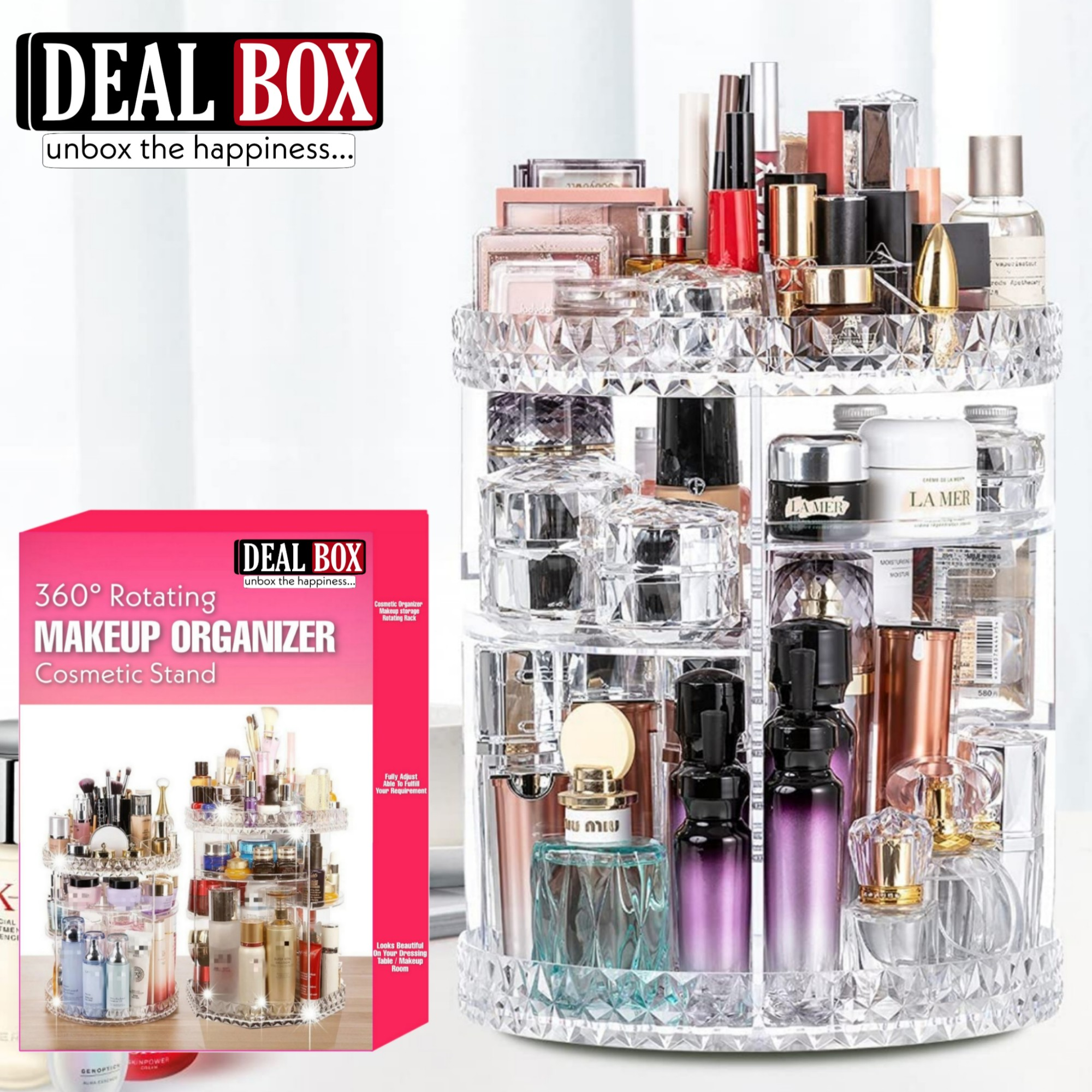 360° Rotating Makeup Organizer Stand - Cosmetic Holder Acrylic