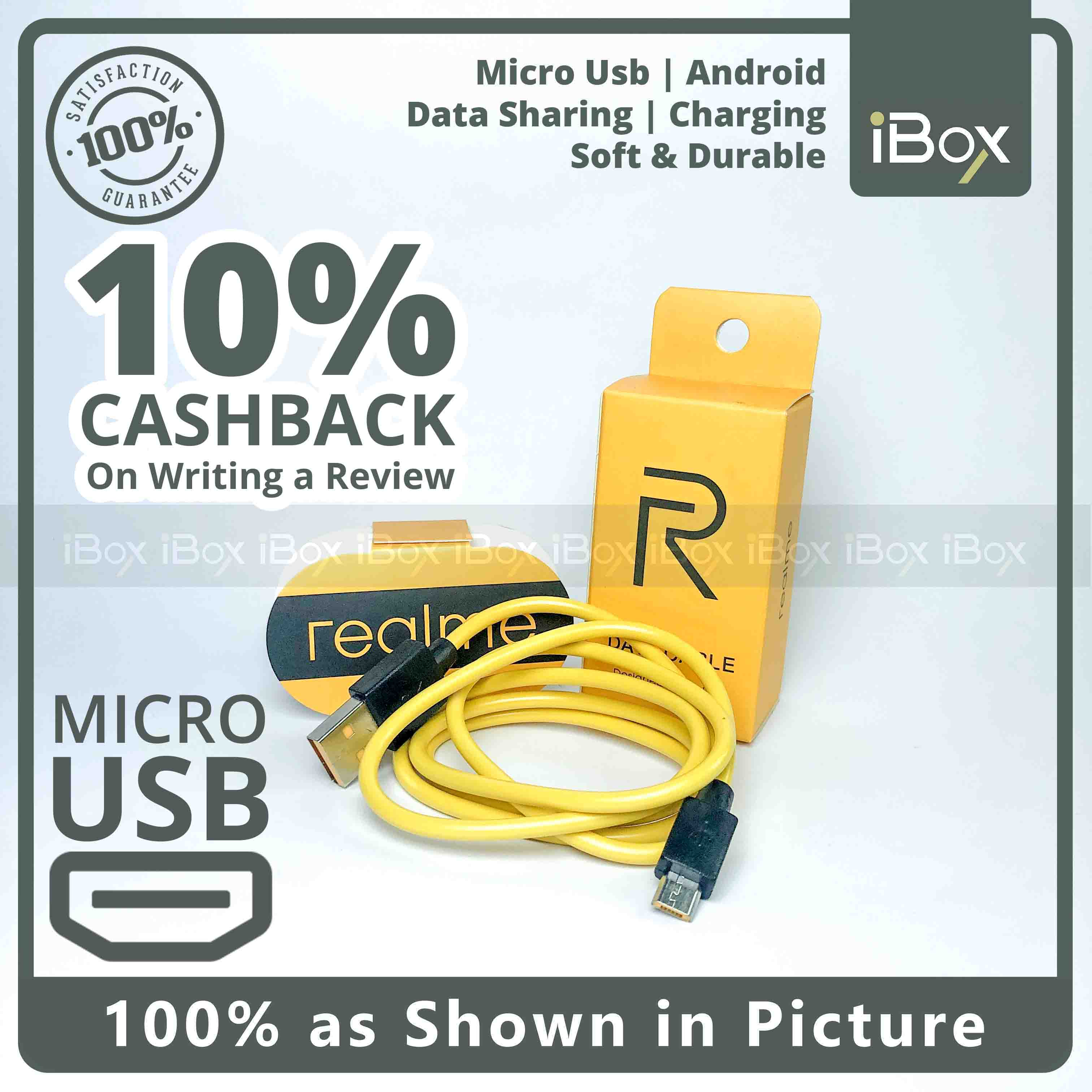 Real Me Android Data Cable Micro USB Data Sharing and Fast Charging Cable - Yellow and Black - Durable