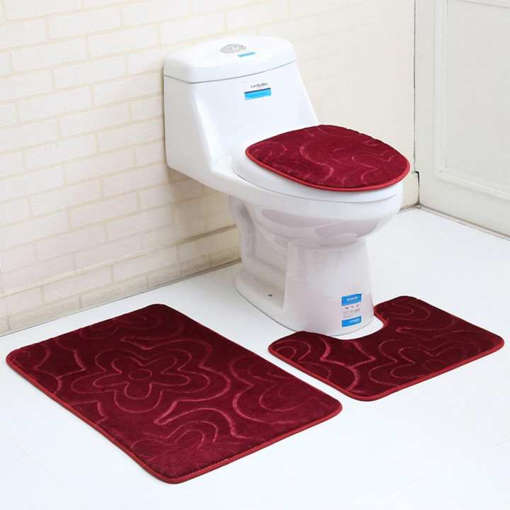 Poplikdfr Non-slip Bathroom Set O-shape Toilet Cover U-shape Mat Rectangle Carpet Household Decoration 3PCS/Set