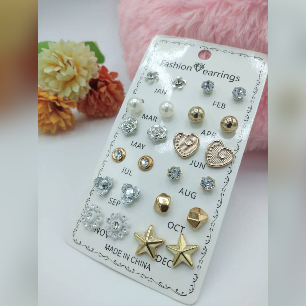 Earrings set of 12 pairs for girls fashion ear rings tops studs