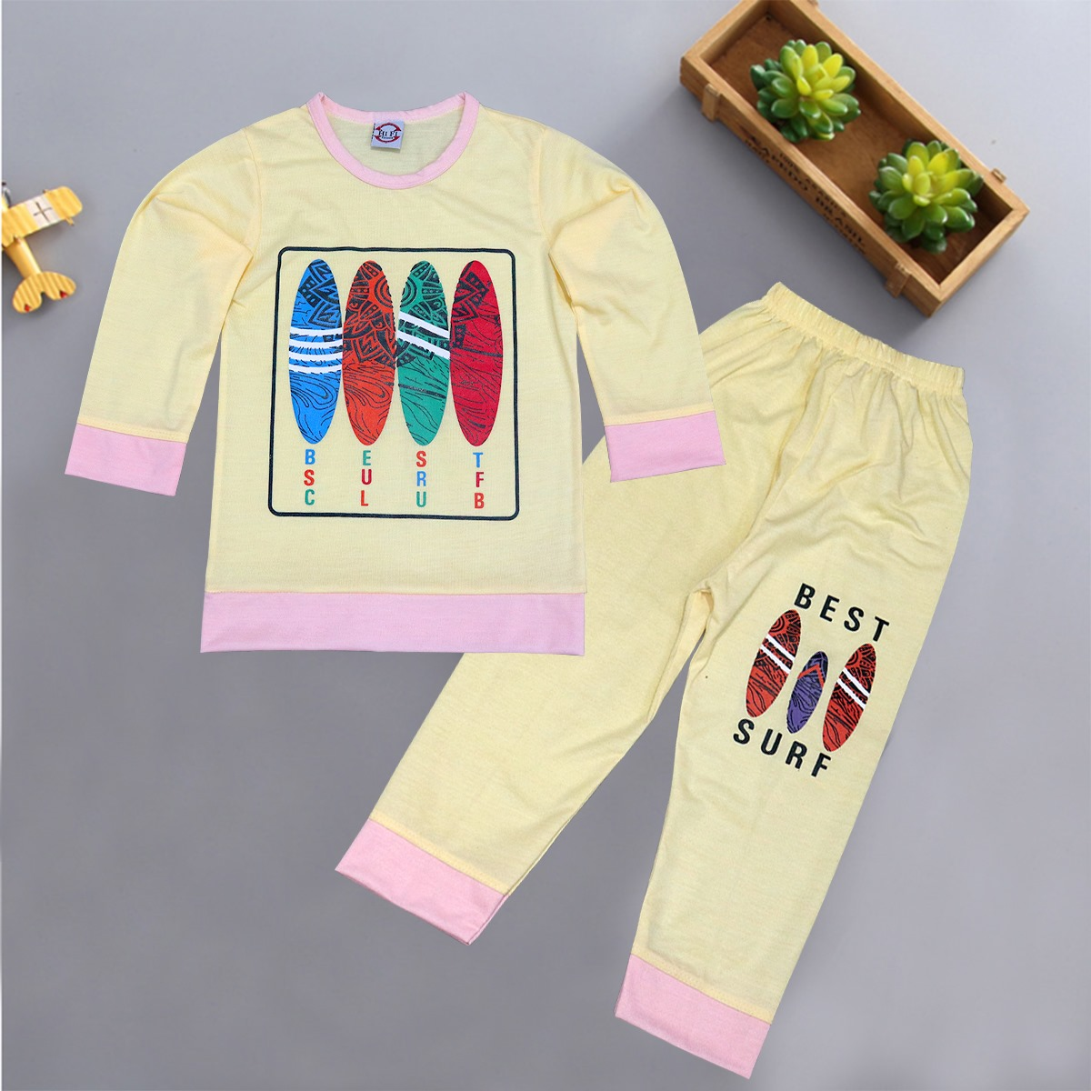 2 Piece Soft Fabric Printed Suit For Kids.