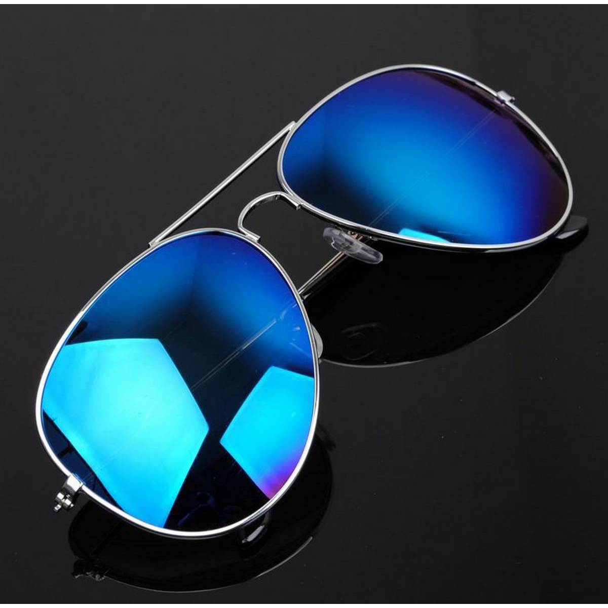 Best Quality New Aviator Design Blue Color Stylish Sunglasses with Silver Frame For Men/Women