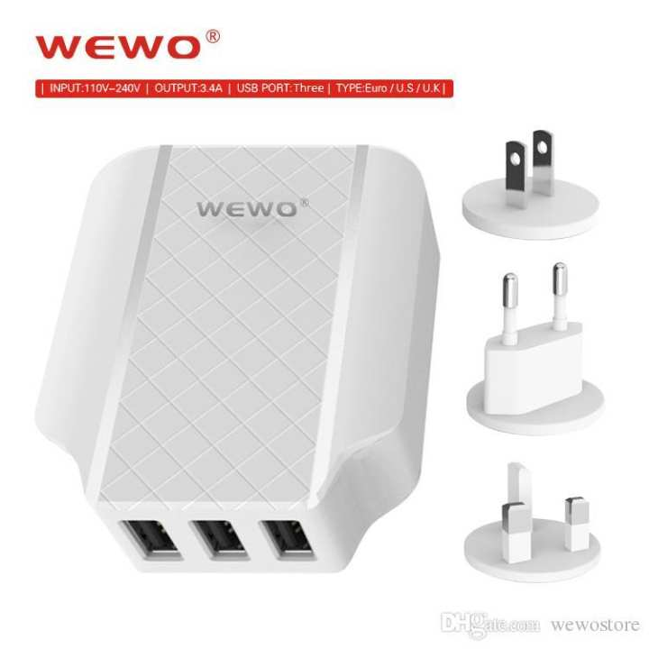 WEWO 3.4A 3 USB Port Fast Charging Mobile Phone Travel Charger W -008