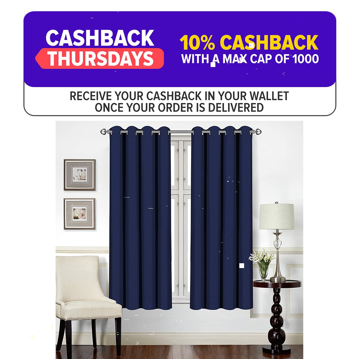 Window Curtains Blackout Room Darkening and Thermal Insulating 52 X 63 Inch 2 Panels