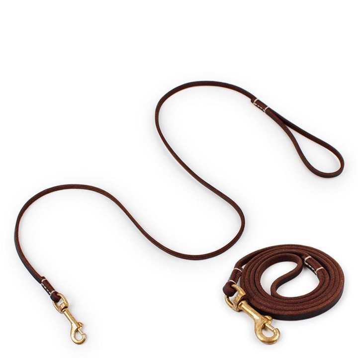 LALA Spot  leather copper hook traction rope Big dog leather pet traction belt