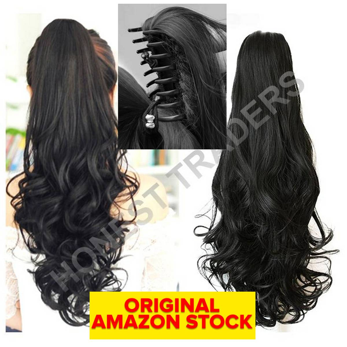 Long Curly Ponytail Hair Extensions With Claw Clip in 26 inches Natural Black Ponytail Hairpiece Weave Pony Tail Synthetic Hair