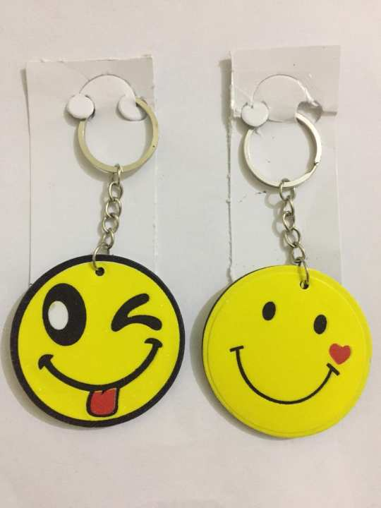 Smiley Face Smile Keychain /Key Chain - soft Flexible -Pack of  2