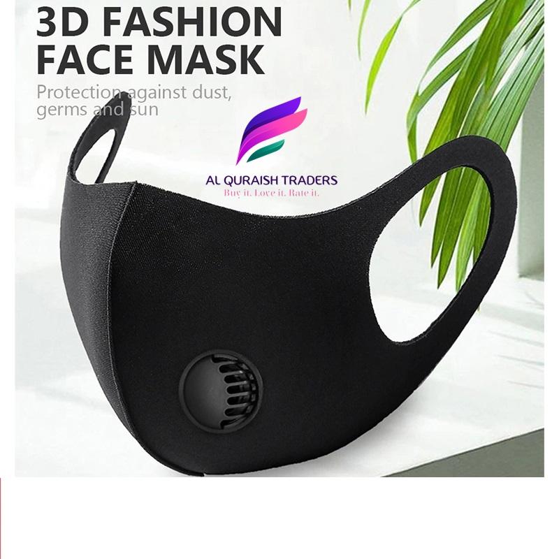 Unisex Reusable, Breathable Washable Organic Sponge Face Mask_ 3D Fashion Cotton Spandex Plain Double Ply Ninja Mask_ Washable Anti Dust Filter Fashion Black Mask_