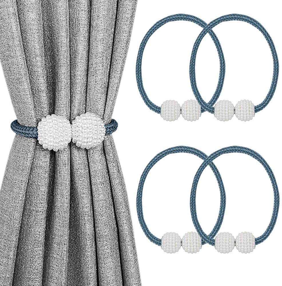 2 PCS Pearl Magnetic Ball Curtain Buckle Magnetic Curtain Tiebacks Convenient Drape Tie European Style Decorative Weave Rope Curtain Rings & Buckles Holder for Window Sheer Blackout Draperies, Parday