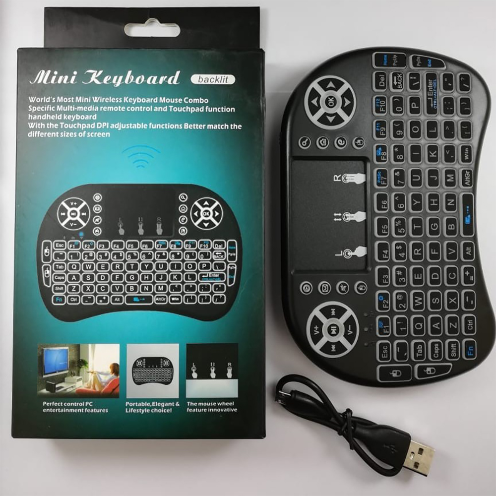 Mini Wireless Keyboard Rechargeable, Controller with Touchpad Mouse Combo