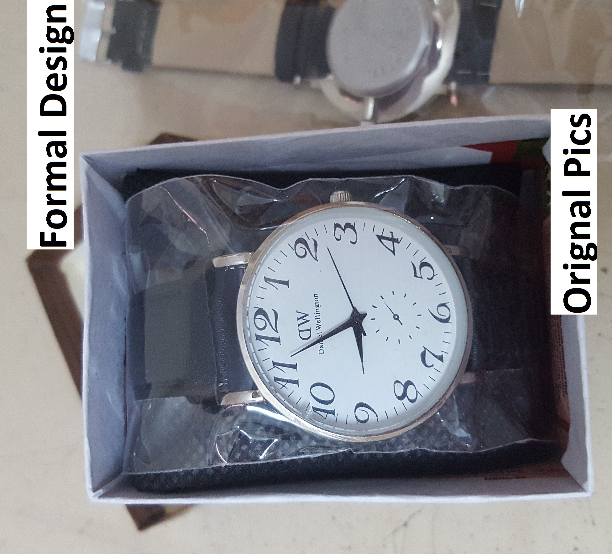 Analog Watch Black Leather Strap watches with Box packaging in Numbers Dial