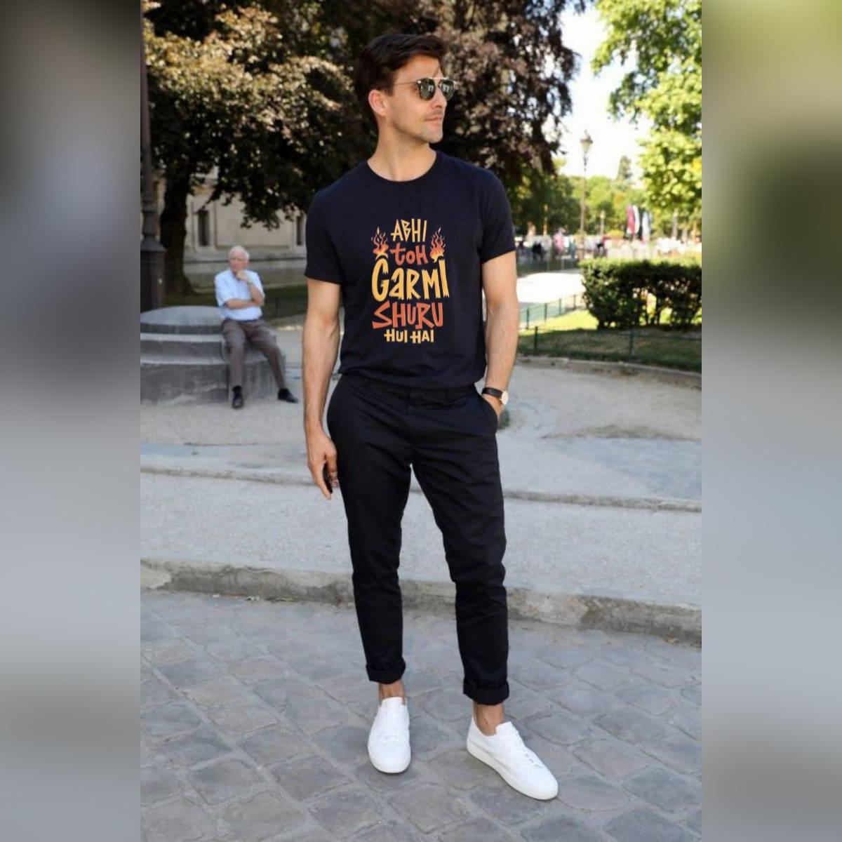 Abhi to garmi shuru hui hai Casual Summer Wear Printed Half sleeve round neck T shirt for Men/Boys