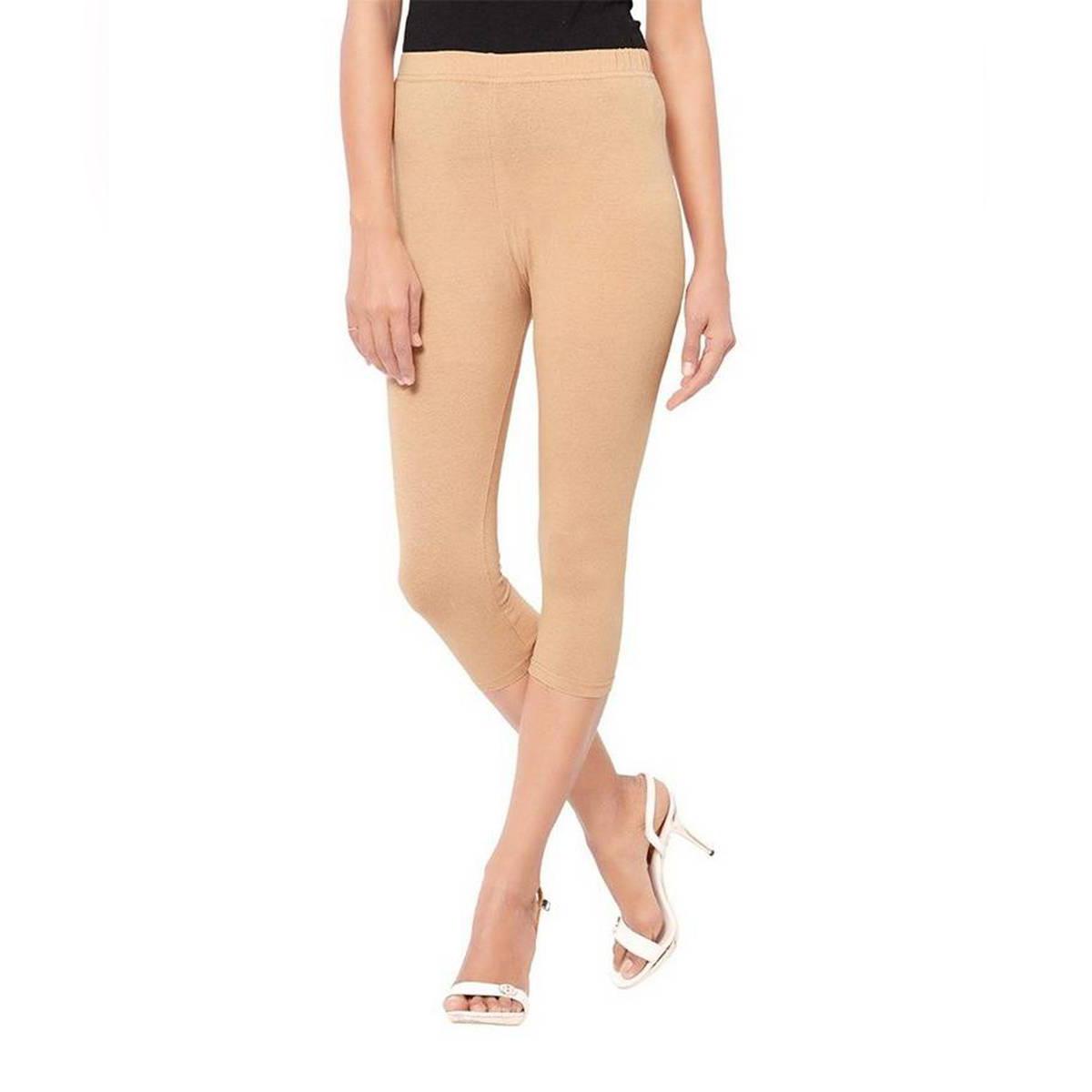 Activewear Beige Cotton Capri Leggigns For Women